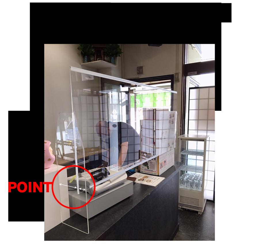 さらに、店内の会計カウンターに設置したアクリル・パーティション。構造的に上吊り式にはできないので、脚の取付位置バランスを変えてカウンタースペースを広く使えるようにしました。POINT