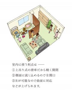 また、横に引くシャッターは通常のシャッターとしての機能の他、室内のドアや間仕切りとしてもご利用いただくことができます。