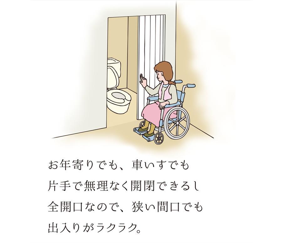 お年寄りでも、車いすでも、片手で無理なく開閉できるし全開口なので、狭い間口でも出入りがラクラク。